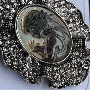 Giant Gray Shell Rhinestone Silver cameo Brooch